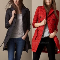 High quality new autumn and winter womens long overcoat double breasted plaid wadded jacket plus size fashion down coat 4 colors