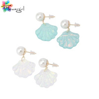 New 2014 Fashion Jewelry Casual Shell Shape  Pearl Earring Shinning Stud Earings For Women [5427]