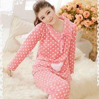 Hot sale sleepwear Coral velvet  lounge women's sweet haet long sleeve pajamas cotton sleep Women lounge pijamas sets