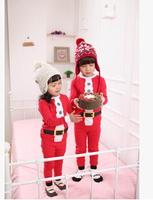 Chrismas Girl's red suits baby underwear Long sleeve Boys girls pajamas for boys 2 piecechildren cartoon sleepwear clothing set