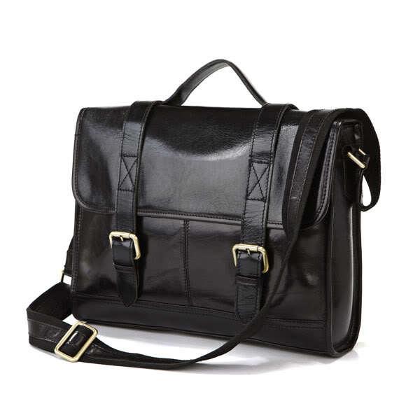 Fashion Handmade Vintage Real Genuine Leather Black Men's Messenger Shoulder Bag Briefcase Laptop Notebook Bag Business Cases(China (Mainland))