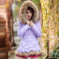 2015 winter autumn new thicken hood short design wadded Raccoon fur collar down jacket cotton-padded fur collar outerwear