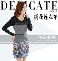 2014 new  fashion autumn/winter dress leisure dress embroidery carve patterns joker clothes brief elegant sweet OL 4