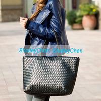 2014 Hot selling women PU leather handbag, large capacity PU woven bags, casual shoulder bag Fashion design