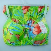 Wholesale Special Price Fashion Green Print 100%Silk Bra Set Women Pushup Bra Set Soft Bras Briefs Underwear MSS7 Free Shipping