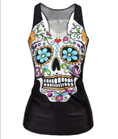 Free Shipping Spring New 2014 Women Floral Sugar Skull Crop Tops Adventure Time Camisole W4437