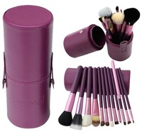 0092014 12pcs/set Pro Cosmetic Makeup Brush Set Make up Tool + Leather Cup Holder Kits Purple #002