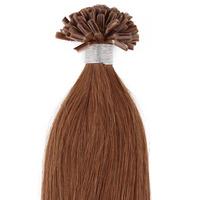 U-tip/Nail Pre-bonded Hair Extension  Straight Hair Medium Brown Hair Color(#8) 100g/pack 0.5g/strand 200S