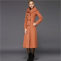 2014 New fashion womens long jacket wool coat plus size winter double-breasted coat female long cashmere jacket turn-down collar
