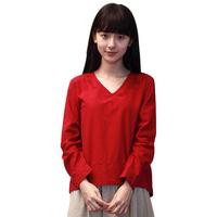 2014 Brief V-neck Embroidery Cotton Tops Casual Elastic Waist Femininas Saias Autumn Solid 2 Piece Set Women 8056
