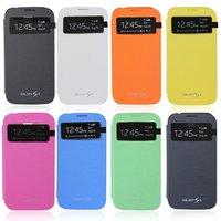 Protective Original Brand Genuine Slim Flip View Case Battery Back Cover For New Samsung Galaxy S4 i9500 Phone Housing Cover Bag