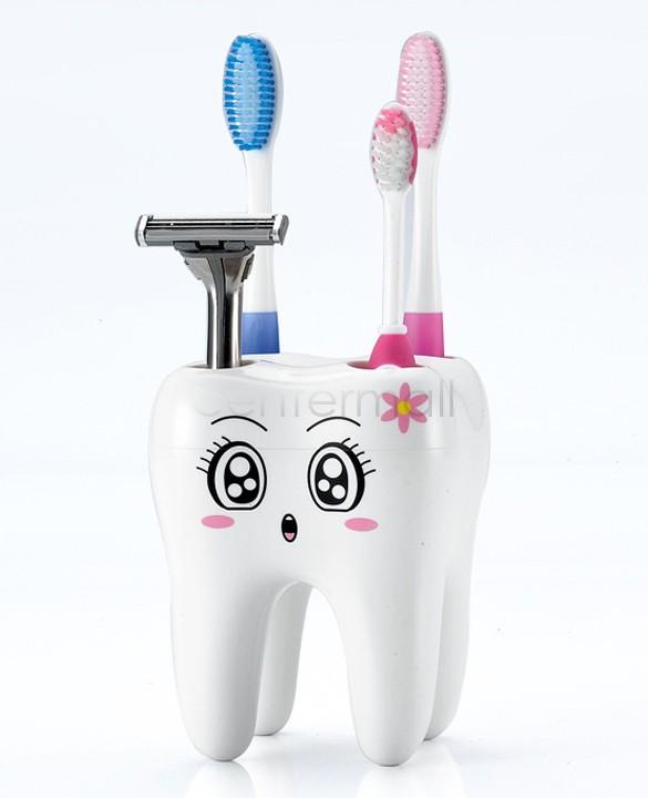 cute Brush Shelf 4 Hole Toothbrush Holder Cartoon Tooth Style Cartoon Holder Container for Bathroom White SV16 SV011012(China (Mainland))