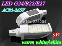 Epistar LED Corn light 9W E27 G24 B22 Bulb Lamp SMD 5050 Horizon Down Light 180 Degree AC85-265V By DHL ship