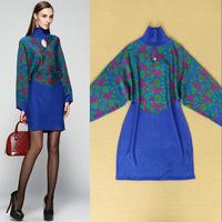 High quality 2014 vintage elegant turtleneck batwing sleeve loose knitted sweater dress