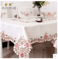 2014 hot sale European style home hotel luxury fabric tablecloth with embroidered dining table cloth