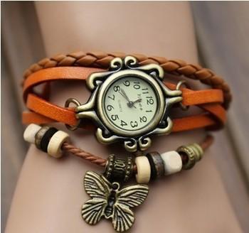 Высокое качество relogio женщины натуральная кожа винтаж часы браслет наручные часы лист кулон бабочки кулон relógio feminino