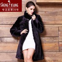 2014 fashion  sheep shearing overcoat medium-long genuine leather wool double faced fur coat