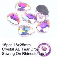 18x25mm Crystal AB 15pcs Tear Drop Sewing On Rhinestones For Wedding Dress