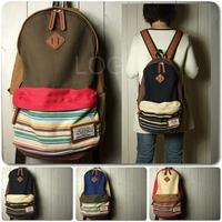 New arrival 2014 Navy Stripe Pattern Backpack Travel Sport Rucksack Satchel School Bag for faster delivery