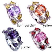 Wholesale Fashion Noble Jewelry Women Oval Cut Tourmaline & Morganite & Amethyst & Pink Topaz 925 Silver Ring Size 7 8 9 10