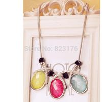 High Quality Luxury Semi-precious Stone Ellipse Necklace Lady Love One Piece Free Shipping