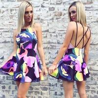 Women Printed Dress Halter Mini dress Backless Criss-cross Party  Vestidos Femininos Sleeveless Casual Dresses Free Shipping