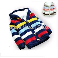 Free shipping! 2014 coral fleece winter warm children striped sweater, fashion baby jacket, boys/girls