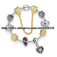 With Original Box New European Style Charm Glasses Gold Beaded Bangle Bracelets Handmade bracelets PA1422 suit for European