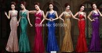 7 color choice full sequins rhinestone cross back mermaid long dress/evening dresses