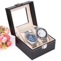 Wristwatch display casket Jewelry organizer case bracelet gift box New and Fashion 2 Grid Black Leather