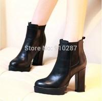 2014 winter genuine leather women's shoes martin fashionable platform high-heeled thick heel platform boots black color