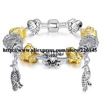With Original Box New European Style Charm Glasses Gold Beaded Bangle Bracelets Handmade bracelets PA1121 suit for European
