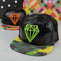2014 winter hat female casual all-match men or women diamond faux leather baseball cap sweet lovers snapback cap