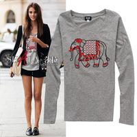 2014 autumn abstract elephant long-sleeve slim cotton t shirt women 2colors S,M,L,XL