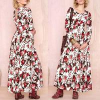 2014 Newest Celebrity Retro Autumn Vintage Sexy Slim Backless Rose Flower Print Boho Full Maxi Swing Dress