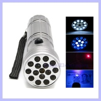 Multi-Functional 15 LED Flashlight Ultraviolet Light Red Laser Pointer for Outdoor Camping