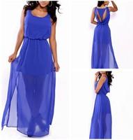 2014 Fashion Women's Autumn chiffon dress Blue  Hollow Out sundress Dress Long Party Evening  Dress KF601 S M L Plus Size