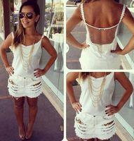 2014 Autumn European style sexy backless white gauze sling Slim chiffon blouse EL-1021-09