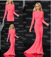 2014 Fashion Women's Autumn chiffon dress Long Sleeve O-neck Floor-Length Evening Party Maxi  Dress KF114 S M L Plus Size