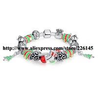 With Original Box New European Style Charm Glasses Gold Beaded Bangle Bracelets Handmade bracelets PA1421 suit for European