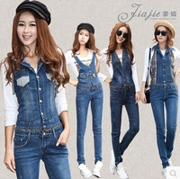 New Fashion Woman Denim Jumpsuits In Large Size 2014 Fall Denim Overalls Women Plus Size Long Jean Pants With Zipper Middle