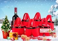 New Real Quality  chirstmas Gift bag Christmas  Santa Pants Candy Bag Sack Stocking   for  Christmas 10pcs/lot