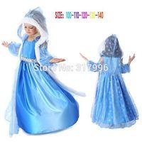 Free shipping New Arrival frozen elsa cape dress,girl dress + cape set,christmas gift,5pcs/lot wholesale