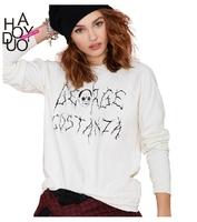 XS-XXL 2014 New Sweatshirt Of Women Fashion  BF Costanza Loose Letter Print Jersey Long-sleeve Pullover Sweatshirt