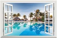 New HD  Pattern Pool Seaview Fake Window Sticker 105*70cm Sofa Background Art Mural Home Decor PVC Removable Wall Sticker hj-27
