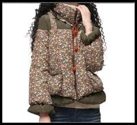 2014 Winter Vintage print outerwear coat  women's down coats