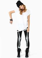 2014  New Autumn SpringBones Skull Skeleton Digital Printed Punk Black Elastic Leggings Pants Plus Size XL
