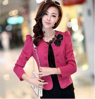 2014 New Fashion Autumn Elegant Double Breasted Slim Long-sleeve Short Casual Outerwear Jacket Women Blazer Feminino