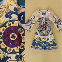 Fashion women's 2014 vintage wheel print handmade diamond woolen coat outerwear autumn and winter