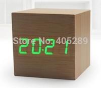FreeShip by DHL 40pcs/lot Wholesale Wood Alarm Clock Voice Control LED clocks digital clock despertador For Best gift